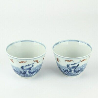 A pair Chinese Antique Blue and White Porcelain Cups