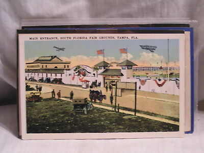 Post Card For The Main Entrance So Florida Fair Grounds Tampa,Fl With Biplane