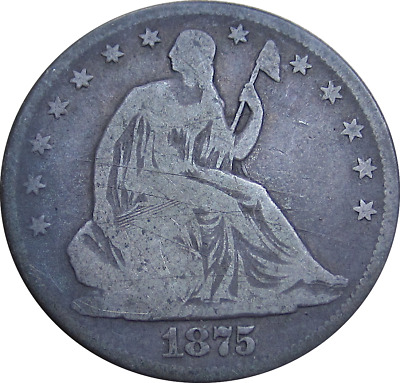 1875 Liberty Seated Half Dollar, Dirty Crusty Gray, Silver Type, Good Details
