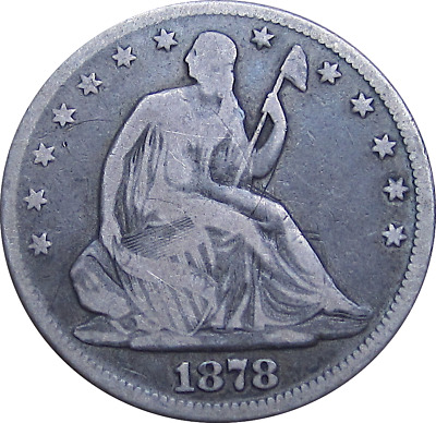 1878 Liberty Seated Half Dollar, Better Later Date, Nice Patina, VG Details