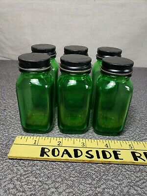6 Early/Vintage  2oz. Duraglas Green Medicine Bottles with Cap