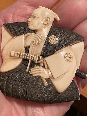 """Vintage Carved Asian Man Signed Pin  2 1/2""""L 2 1/4""""W"""