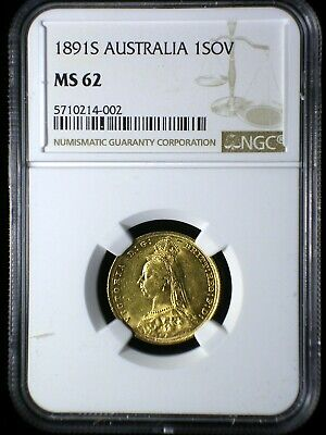 Australia 1891 S Gold Sovereign *NGC MS-62* Sharp Lustrous Only 9 Graded Higher