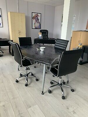 Meeting Table Black Gloss and 4 solid Leatherette Chairs