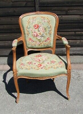 Louis Xv Style French Carved Walnut And Velvet Armchair - (Conac33)