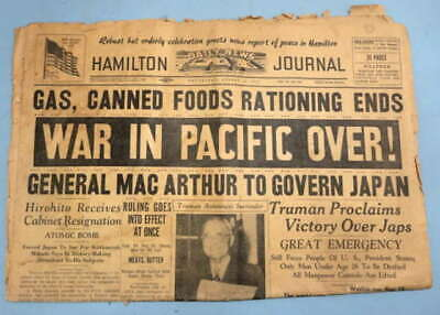 """""""War In Pacific Over!"""" Aug. 15,1945 Fort Hamilton Indiana Daily Newspaper #702"""