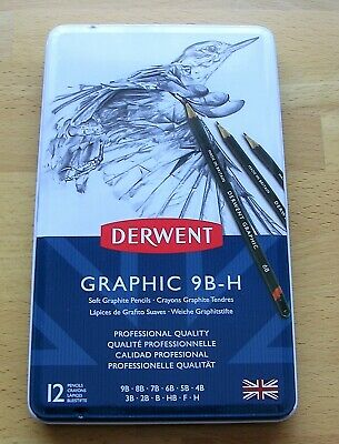 12 DERWENT Soft GRAPHIC GRAPHITE PENCILS 9B-H  NEW & SEALED **Fast Postage