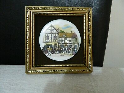 Vintage hand made enamel on copper picture by P. Collins 1