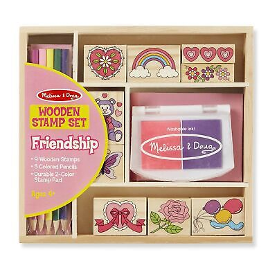 Melissa & Doug Wooden Stamp Set: Friendship (9 Stamps, 5 Colored Pencils, and...