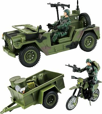 Click N' Play Military Logistics Transport Unit 16 Piece Play Set with Access...