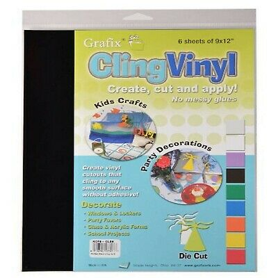 Grafix 9-Inch-by-12-Inch Cling Film Black, 6-Pack