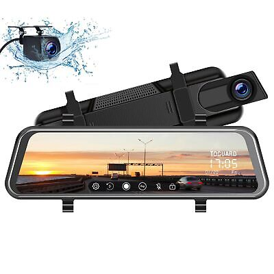 TOGUARD Backup Camera 10' Mirror Dash Cam, Dash Cam Front and Rear Full Touch...