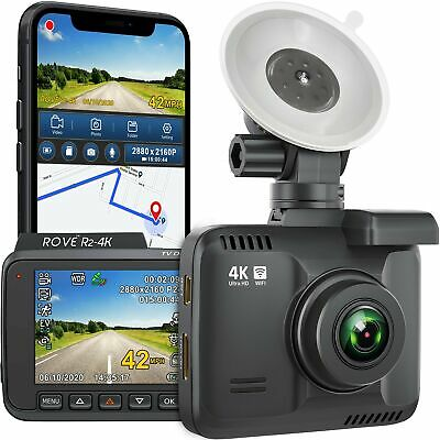"""ROVE R2-4K Dash Cam with WiFi and GPS 2160p Ultra-HD 2.4"""" LCD Dashboard Camer..."""