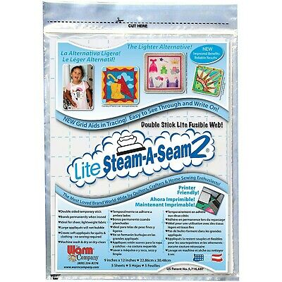 "Warm Company Steam-A-Seam Lite 2 Double Stick Fusible Web-9""X12"" Sheets 5/Pkg"