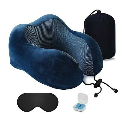 Memory Foam Travel Pillow, Neck Pillow with 360° Head Neck Support for Sleepi...