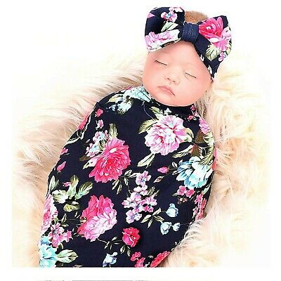 Newborn Swaddle Sack with Baby Headband, Flower Print Soft Stretchy Cotton Ne...