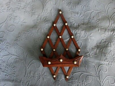 Tramp Art Wooden Hanging Key or Match Holder with White Porcelain Buttons