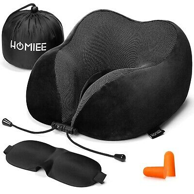 HOMIEE Memory Foam Travel Pillow The Best Neck Pillow with 360 Head and Neck ...