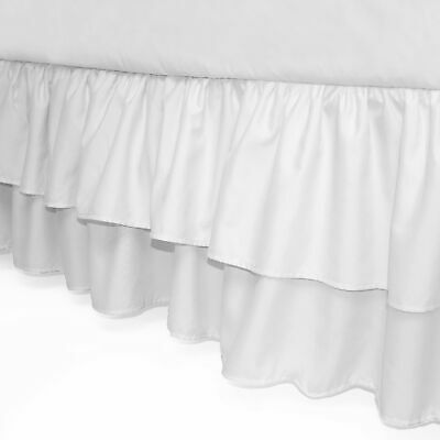 American Baby Company Double Layer Ruffled Crib Skirt, White, for Boys and Gi...