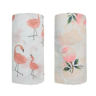 2 Pack 47'x47' Floral & Flamingo Print Baby Receiving Blanket Wrap for Girl S...