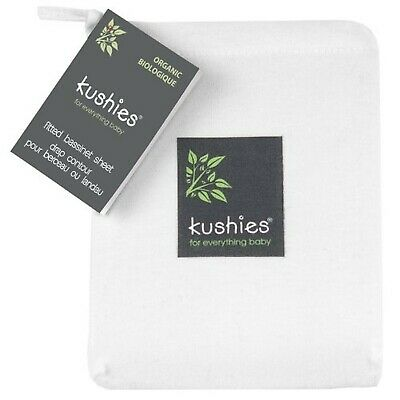 Kushies Baby Organic Jersey Bassinet Fitted Sheet, Off-White