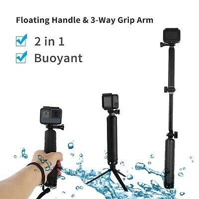 TELESIN Waterproof Extension Pole with Tripod, Multi-functional 3 Way Handhel...