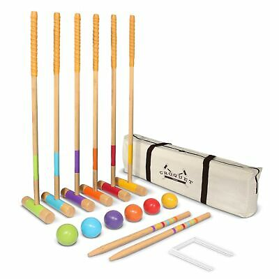 GoSports Six Player Croquet Set for Adults & Kids - Modern Wood Design with D...