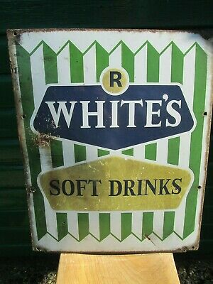 Vintage R WHITE'S soft drinks Enamel sign genuine sign from the 50/60s complete