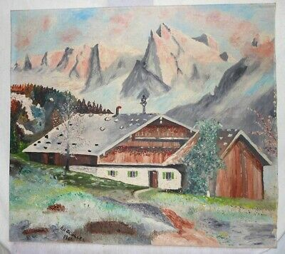 Vintage Naive 1966 Oil Painting Alps Landscape Snow Scudder Swiss Alpine Decor