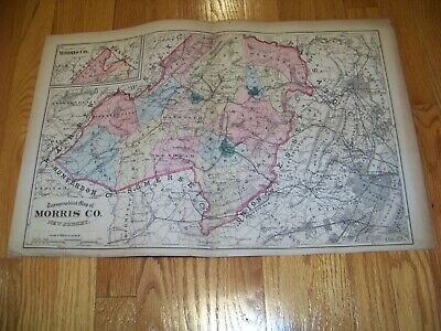 1872 Map F. W. Beers, Comstock & Cline Morris County Newton Phillipsburg NJ