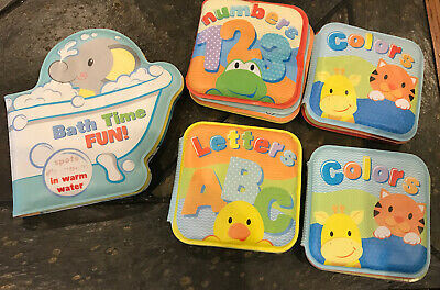 Bath Time Fun Baby Toddler Floats Waterproof Books Numbers Letters Colors EUC