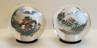 Japanese Reverse Painted Landscape Scene GLASS ORB paperweights Vintage Lot of 2