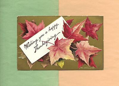 Colorful Autumn LEAVES On A/S CLAPSADDLE Vintage 1910 THANKSGIVING Postcard