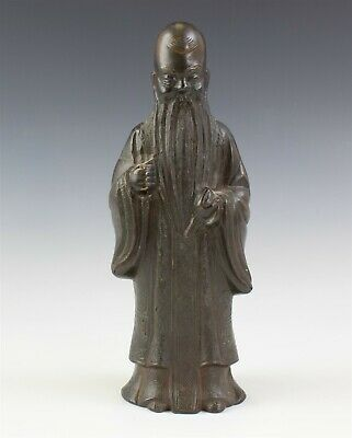 "8 3/4"" Chinese Export Bronze Figural Wise Scholar Man w Robe Metal Figurine JTM"