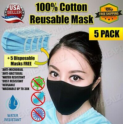 5+5 Pack - Cotton Three Layer Face Mask - Reusable Washable - BLACK | MED SIZE