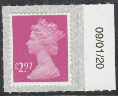 GB 2020 £2.97 S/ADHESIVE MACHIN CODE M20L SBP2i DATED 09/01/20 on SELVEDGE MNH