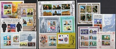 Winston Churchill - 14 MNH Mini Sheets from around the Commonwealth - (54)