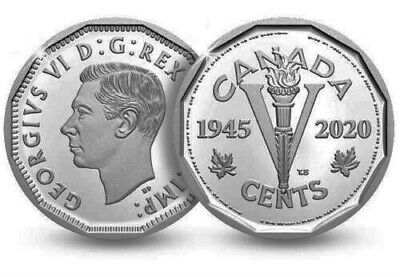 2020 Canada PROOF Pure SILVER FIVE Cents Coin - RARE 1945-2020 Victory 'Nickel'!