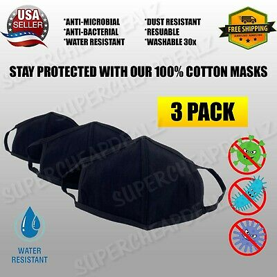 3 Pack - Cotton Three Layer Face Mask - Reusable Washable - BLACK | MEDIUM SIZE