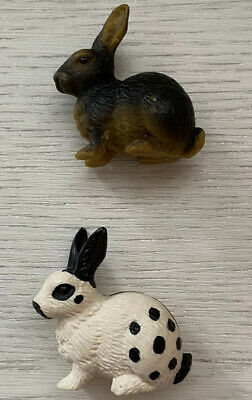 Schleich Lot of 2 RABBITS Bunny Black & White Spotted Brown Black Retired