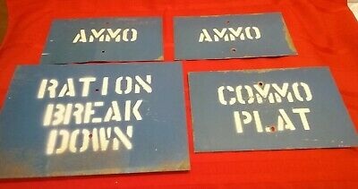 (19) Original ca 1960s US Army Stenciled Metal Signs; Ammo, Off Limits, CO, XO +