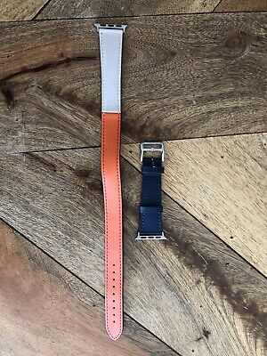 New - Hermes style Apple iWatch Double Wrap 38mm Strap. Orange / Navy
