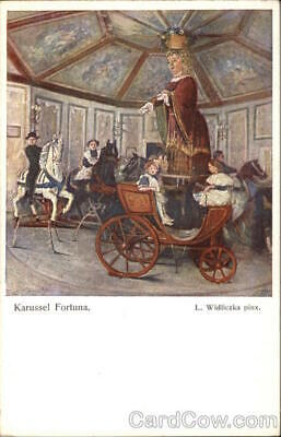"""""""Carousel of Fortune""""-with Children Postcard Vintage Post Card"""