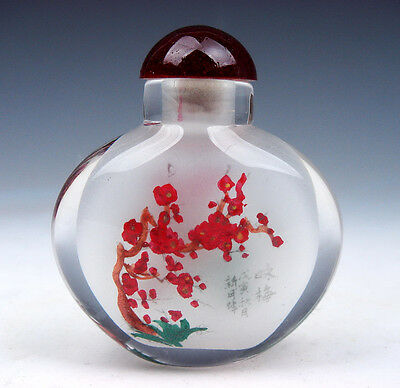 Peking Glass Inside Plum Blossom Reverse Hand Painted Snuff Bottle #11201505