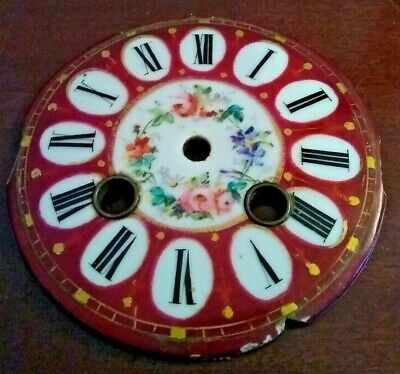 STUNNING Dark Red Floral Clock Dial Suitable French Clocks etc.,.(3)
