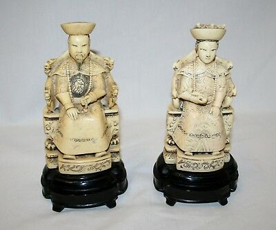 Antique Chinese Emperor & Empress Carved Oriental Resin Figurines - Signed