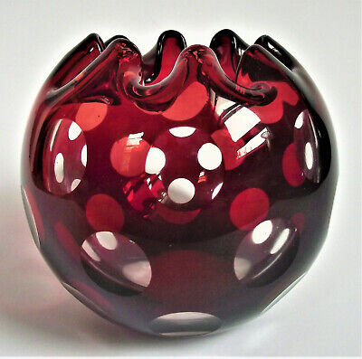 """Antique BOHEMIAN CZECH 4"""" RUBY RED CUT TO CLEAR ART GLASS CRYSTAL ROSE BOWL VASE"""