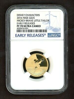 2016 Niue Disney MICKEY 75th Ann. G$25 Early Releases GOLD 1/4oz NGC PF70 UCAM
