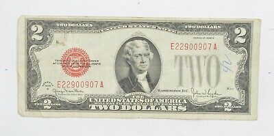 1928-G Red Seal $2.00 United States Note - Legal Tender - Historic *674