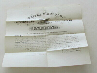 6th Indiana Cavalry large promotion signed by Indiana Governor Oliver P. Morton